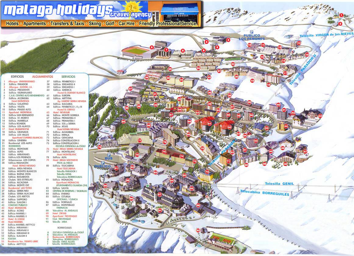 Map of Sierra Nevada Ski Resort in Spain Granada