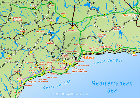 Costa del Sol Map of Malaga